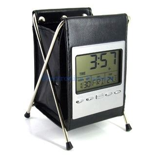 Leather Lcd Penholder With Clock leather lcd penholder with clock black jakartanotebook