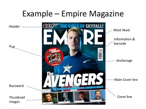 magazine cover layout terms film magazine front cover key terms