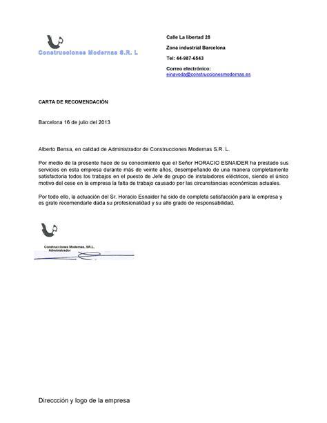 ejemplo de carta de empleador ejemplo de plantilla de carta de recomendaci 243 n