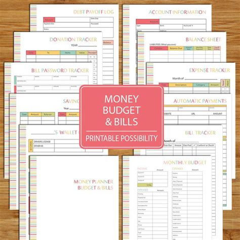 printable financial planner free money budget and bills planner printable financial kit