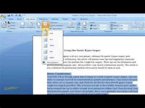 word layout two columns how to create columns of text in word 2007 for dummies