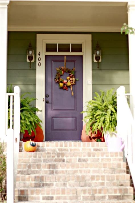 Front Door Colors For Green House Door Colors For Green House Green Siding W White Trim Plum Front Door Mi Casa