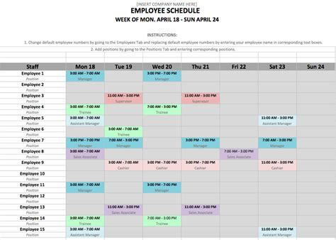 employee schedule template excel employee schedule template in excel and word format zip