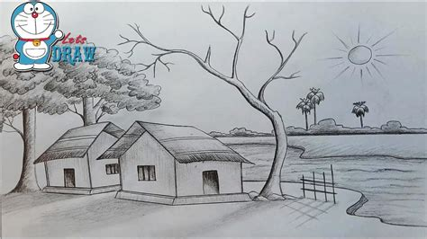 free pencil sketch up doodle theme scenery line drawing pencil and in color