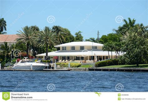 luxury waterfront home royalty free stock photo image