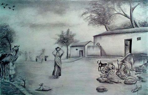 pencil drawing themes for competition village scene drawing competition pencil great drawing