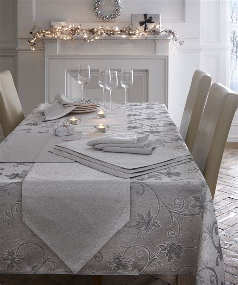 embroidered glitter dining kitchen table cloth linen