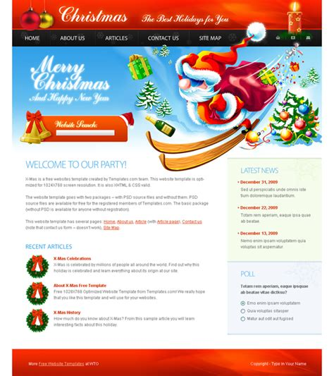 christmas themes websites designs article free xhtml css templates for different