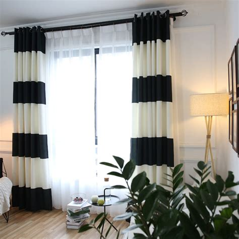 bedroom curtains on sale white and black horizontal striped print cotton modern bedroom curtains on sale