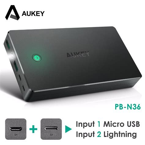 usb bank aukey 20000mah power bank dual usb external power