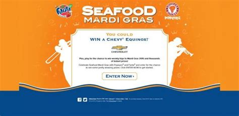 Mardi Gras Sweepstakes - fanta popeyes seafood mardi gras sweepstakes and instant win