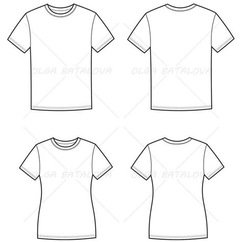 women s and men s t shirt fashion flat templates