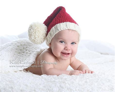 baby knit santa elf hat christmas infant toddler cap prop