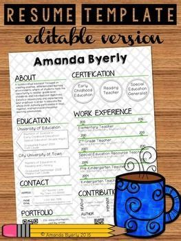 teaching portfolio template free free editable resume template tpt free lessons