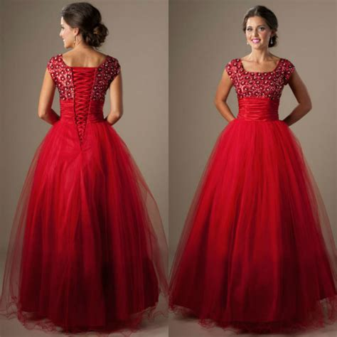 long red promotion dress cute red square neck tulle long puffy modest prom dress