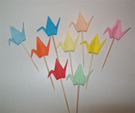 Origami Bird Decorations - origami crane cupcake topper set of 50 wedding cake topper