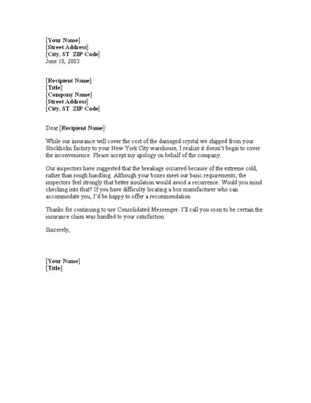 Explanation Letter Business Letter Offering Explanation For Damaged Shipment For Microsoft Sle Access