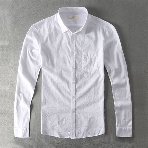 Kemeja List Polos Pria zecmos kemeja kasual pria katun putih polos padat slim fit lengan panjang kemeja laki laki di