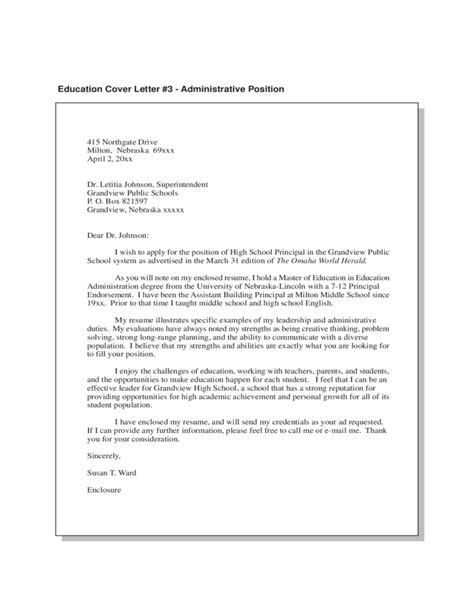 Cover Letter Exles Education Administration Education Cover Letter Free
