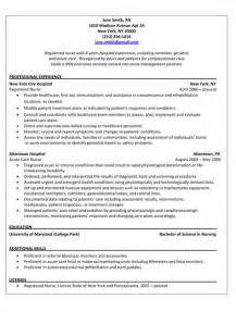 free rn resume sles resumes for registered nurses jianbochen