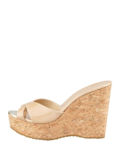 Mossimo Parry Patent Cork Slide Wedges by Lyst Jimmy Choo Perfume Patent Leather Crisscross Cork