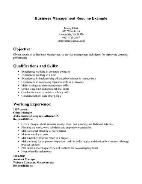 Exle Of A Business Resume by 12 Business Resume Exles Recentresumes