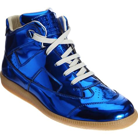 blue and sneakers maison martin margiela metallic blue high top sneakers