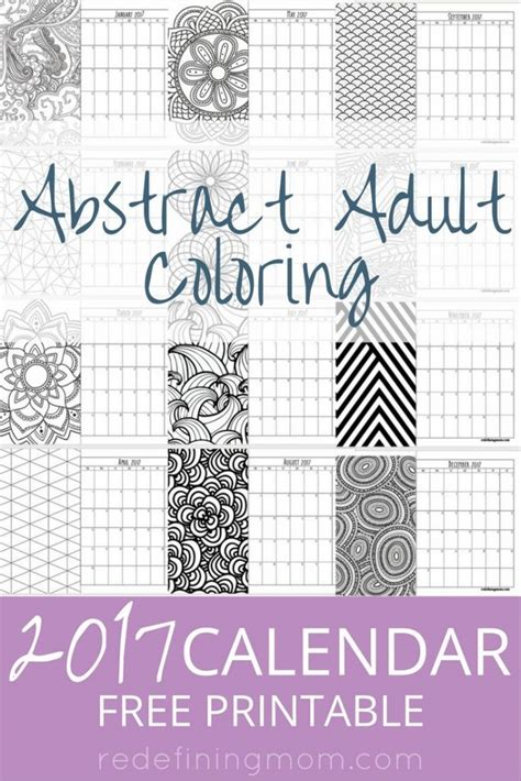 printable calendar coloring pages 2017 abstract adult coloring 2017 calendar free printable