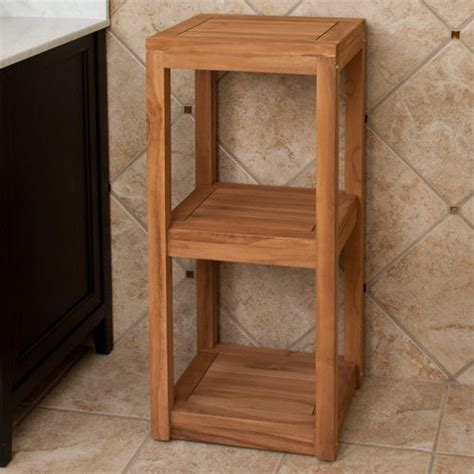 Teak Bathroom Shelves Three Tier Teak Towel Shelf Bathroom