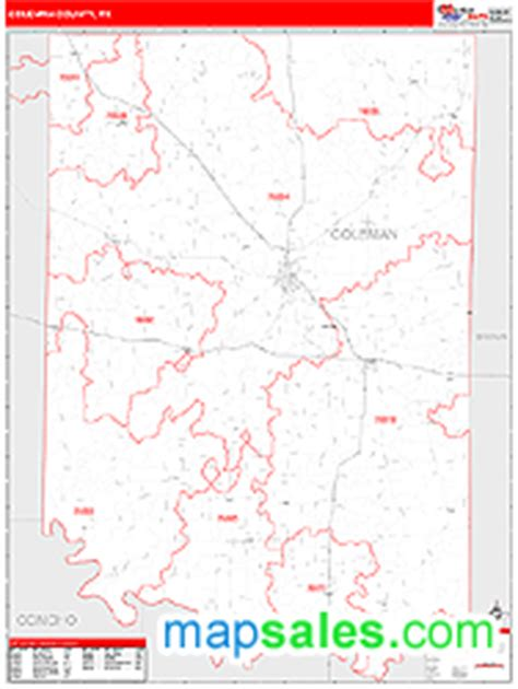 coleman county texas map coleman county tx wall map line style by marketmaps