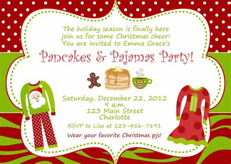 free christmas pj invitation pajama invitations home ideas