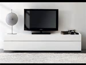 White lacquer media console for tv stand with fur rug