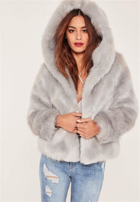 Faux Fur Hooded Coat caroline receveur grey hooded faux fur coat missguided