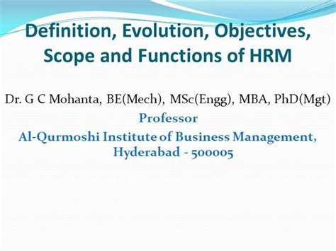 Mba Hrm Means by Hrm Definition Evolution Objective Scope Function