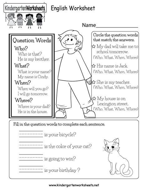 printable esl kindergarten worksheets free printable english worksheet for kindergarten