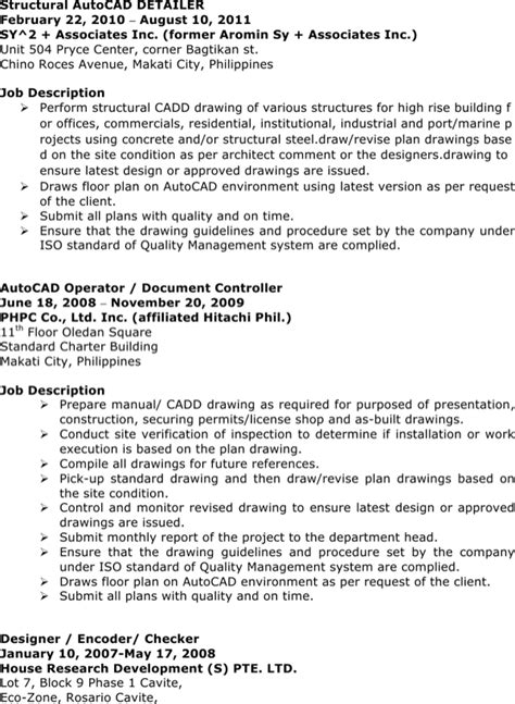 Autocad Operator Sle Resume by Autocad Operator Resume For Free Page 2 Formtemplate
