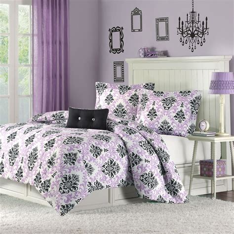 damask bedroom purple and black damask bedding interiors by color