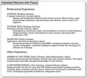 Resume Exle Relevant Experience How To Focus A Resume On Relevant Experience Dummies