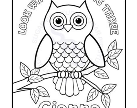 happy birthday owl coloring pages personalized printable owl birthday party favor childrens