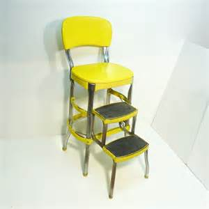 Step Stool Chair Bright Yellow Retro Cosco 50s Vintage Step Stool Kitchen Stool