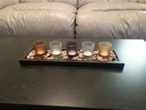 Furniture Top Coffee Table Decorating Ideas With Light Candle In Glass Jar And Stone Decoration | furniture christmas decoration with light candle in clear