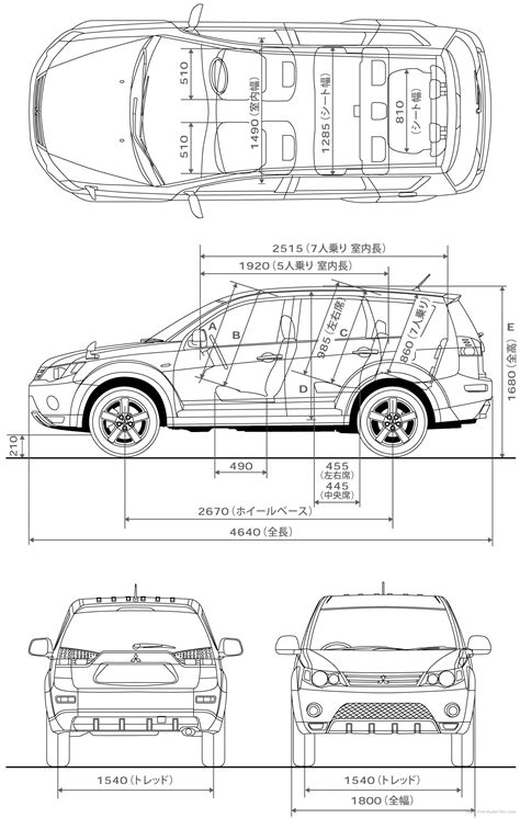 mitsubishi outlander dimensions the blueprints blueprints gt cars gt mitsubishi
