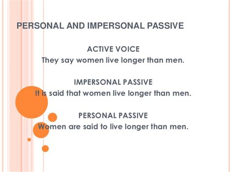 pattern active voice personal and impersonal passive