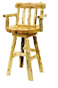 Bar Stool With Back And Arms Cedar Swivel Arm Stool With Back Lodge Craft
