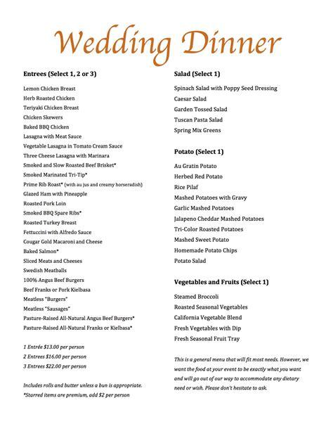 wedding menu weddings 171 magills restaurant catering