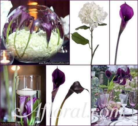 calla lily wedding centerpieces dark purple calla lily