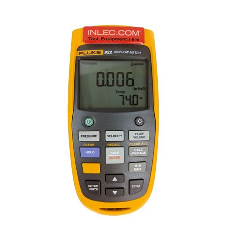 Fluke 922 Kit Airflow Meter Kit Micromanometer Micro Manometer fluke 922 airflow meter kit hire inlec