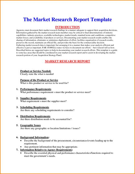 market research template doc doc 12851660 5 market research report template