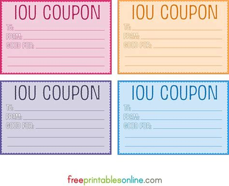 iou letter template colorful free printable iou coupons diy