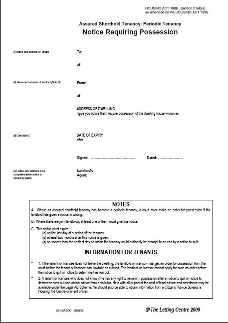 section 21 notice template section 21